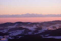 Třístoličník, pohled na Alpy